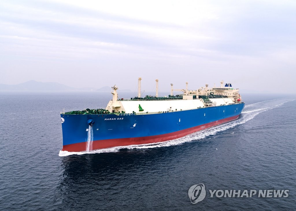 This undated photo, released by Daewoo Shipbuilding & Marine Engineering (DSME) shows a LNG carrier built by the shipbuilder. (PHOTO NOT FOR SALE) (Yonhap)
