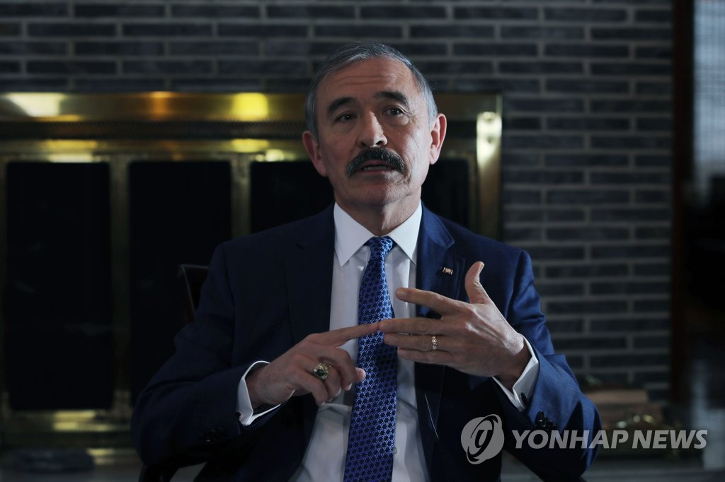 This photo, filed Nov. 19, 2019, shows U.S. Ambassador to South Korea Harry Harris speaking during an interview with Yonhap News Agency. (Yonhap)