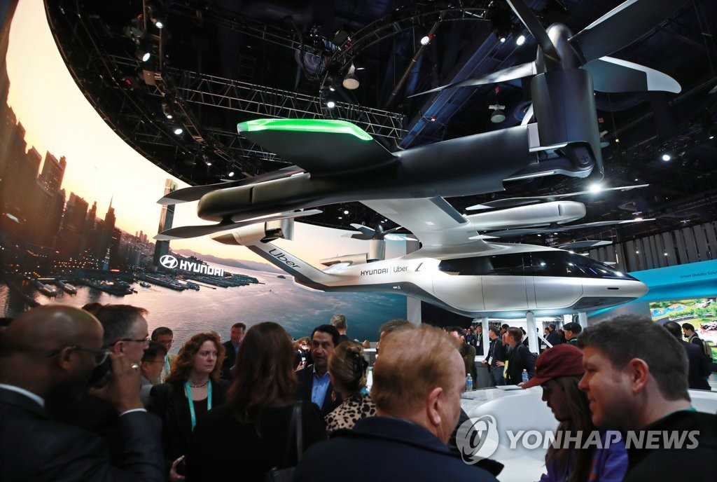 This file photo, taken on Jan. 8, 2020, shows Hyundai Motor Group's personal air vehicle concept, S-A1, at its booth at Consumer Electronics Show in Las Vegas, Nevada. (Yonhap)