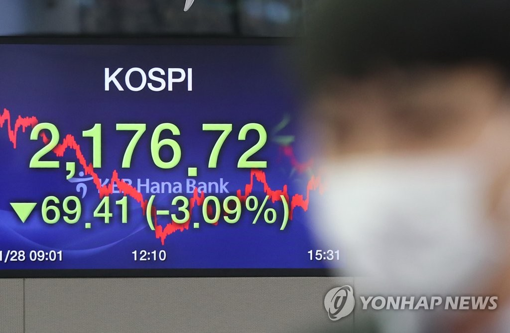 An electronic signboard in the dealing room of KEB Hana Bank in downtown Seoul shows the benchmark Korea Composite Stock Price Index (KOSPI) losing 69.41 points, or 3.09 percent, to close at 2,176.72 on Jan. 28, 2020, amid escalating woes over the spread of the Wuhan coronavirus. (Yonhap)