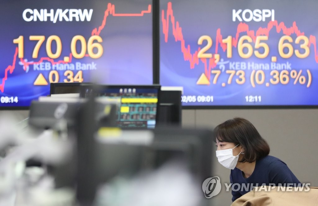 This photo taken on Feb. 5. 2020 shows a broker wearing a mask at the dealing room of KEB Hana Bank in Myeongdon, central Seoul. (Yonhap)