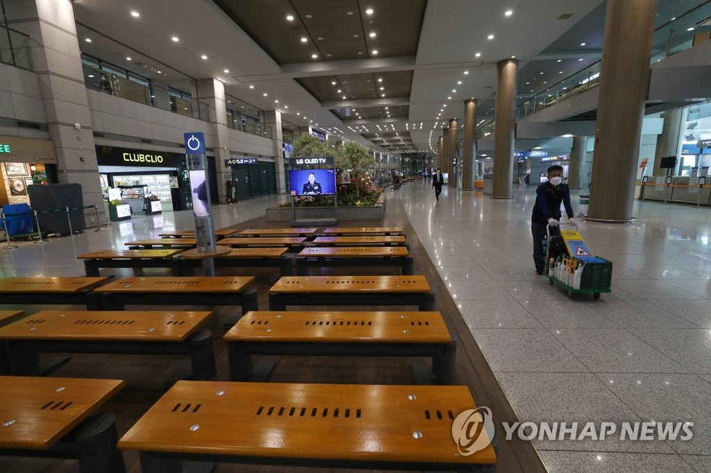 L'aéroport international d'Incheon est désert. (Photo d'archives Yonhap)