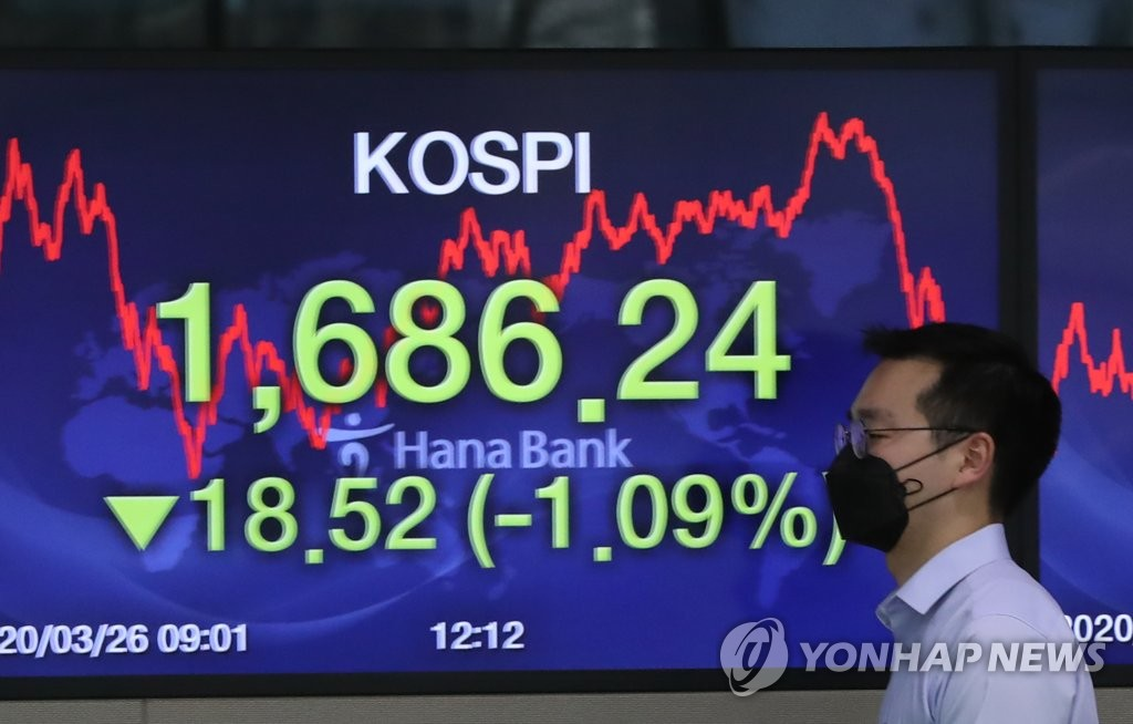 A currency dealer walks by a screen showing the benchmark Korea Composite Stock Price Index at a dealing room at Hana Bank in Seoul on March 26, 2020. (Yonhap)