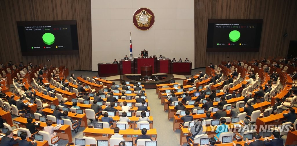 The National Assembly holds a plenary session to vote on a 12.2 trillion-won (US$10 billion) extra budget and other bills on April 29, 2020. (Yonhap)