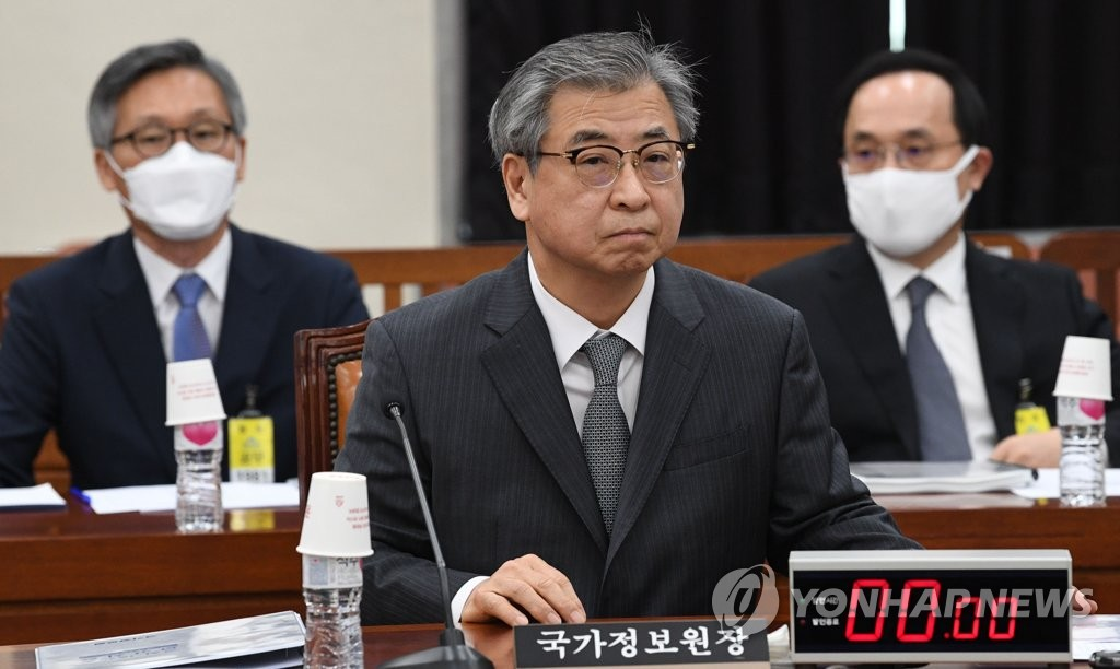 South Korea's spy agency chief Suh Hoon (C) prepares to speak at a parliamentary committee meeting at the National Assembly on May 6, 2020. (Yonhap)