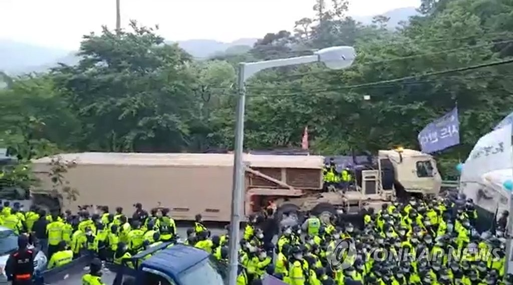 Ground transport of equipment for USFK's THAAD base