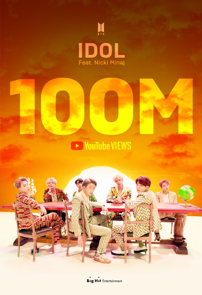 "A promotional image provided by Big Hit Entertainment on June 8, 2020, in celebration of the music video for ""Idol Feat. Nicki Minaj"" by K-pop group BTS collecting over 100 million views on YouTube. (PHOTO NOT FOR SALE) (Yonhap)"
