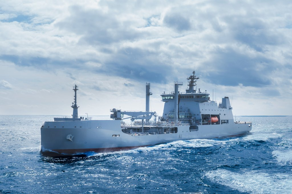 This file photo provided by Hyundai Heavy Industries Co. shows a warship for the Royal New Zealand Navy built by the shipbuilder. (PHOTO NOT FOR SALE) (Yonhap)
