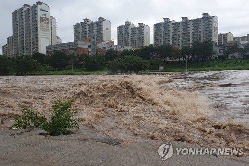폭우에 급류로 변한 하천