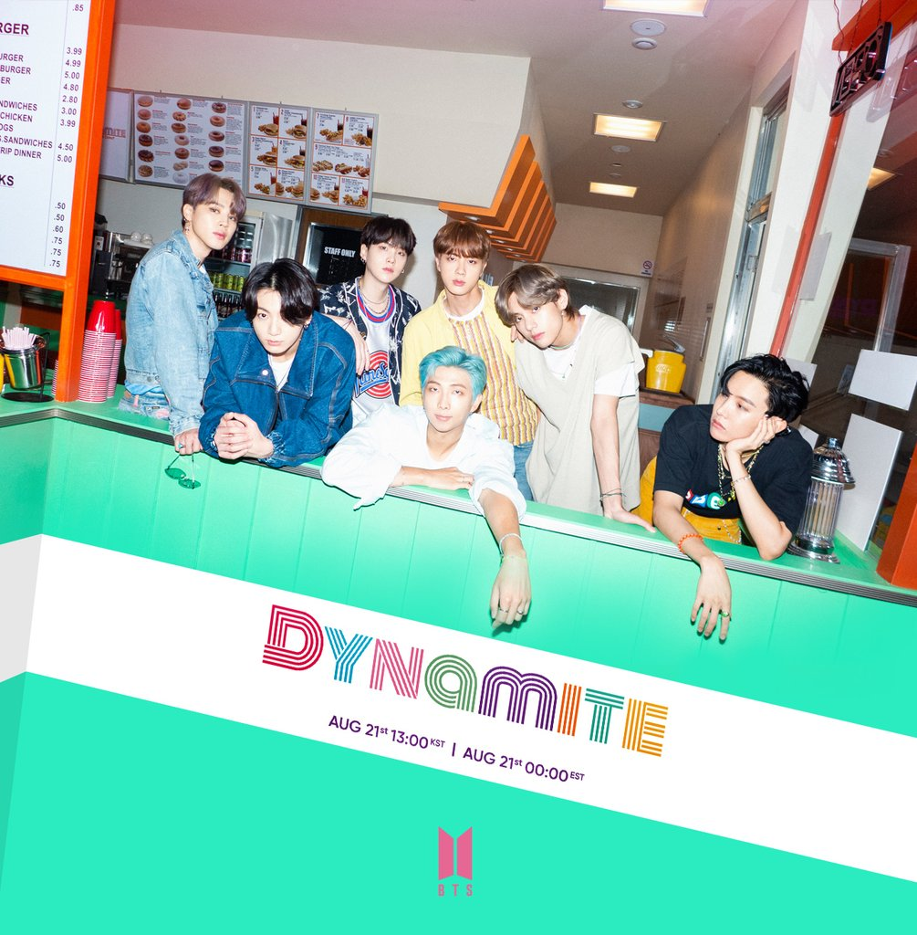 "This photo, released by Big Hit Entertainment via social media on Aug. 19, 2020, shows a teaser for global K-pop band BTS' new song ""Dynamite."" (PHOTO NOT FOR SALE) (Yonhap)"
