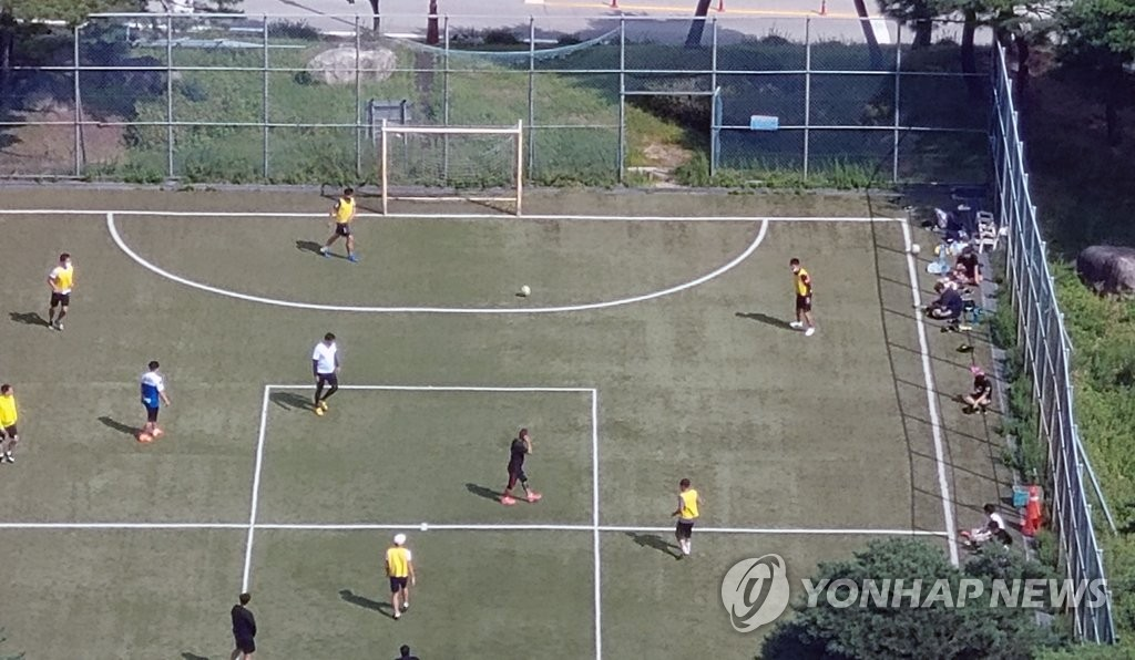 This file photo from Sept. 10, 2020, unrelated to the article, shows a football field in Gangneung, 240 kilometers east of Seoul. (Yonhap)