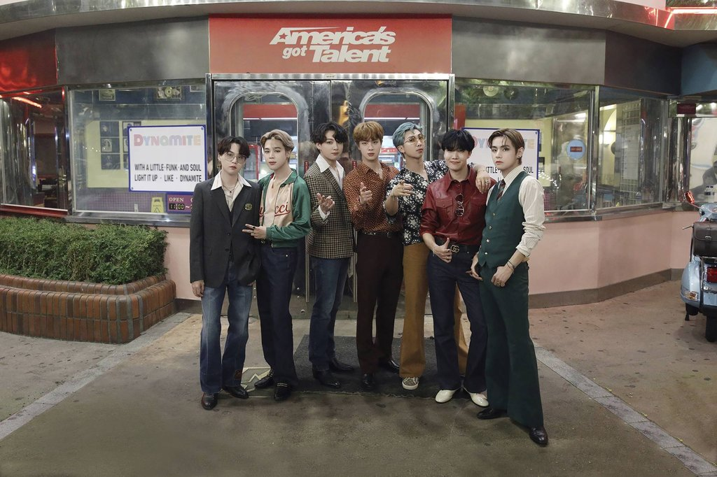 "This photo, provided by Big Hit Entertainment on Sept. 17, 2020, shows members of BTS posing for a photo at the filming location for a performance of ""Dynamite"" for NBC's ""America's Got Talent."" (PHOTO NOT FOR SALE) (Yonhap)"