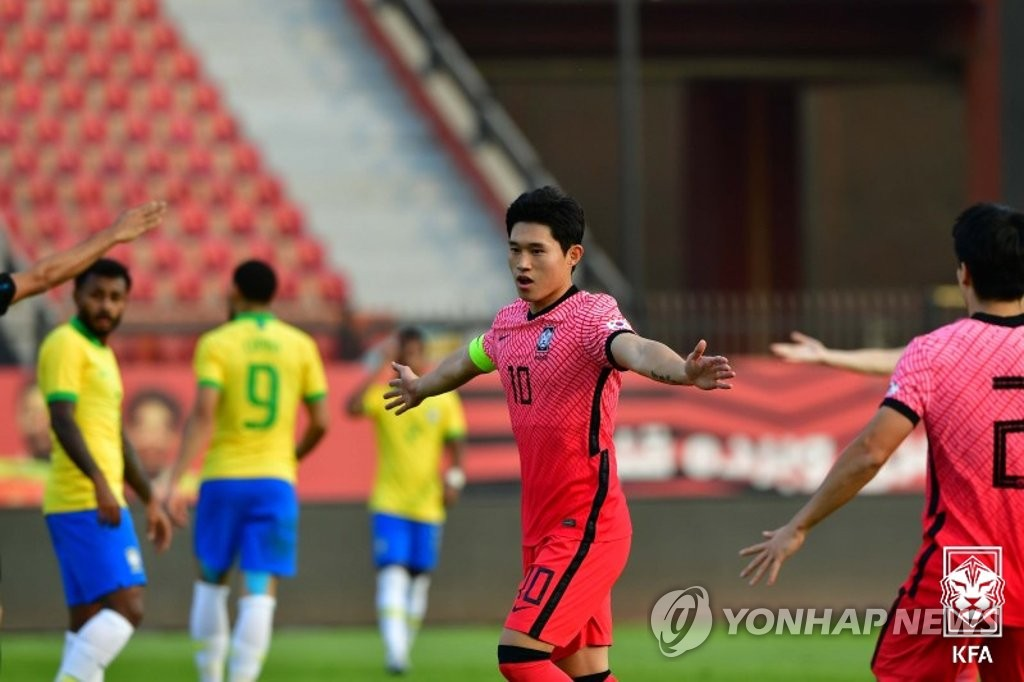 In this Nov. 14, 2020, file photo provided by the Korea Football Association, Lee Dong-gyeong of South Korea celebrates his goal against Brazil during their under-23 men's football friendly match at Al Salam Stadium in Cairo. (PHOTO NOT FOR SALE) (Yonhap)
