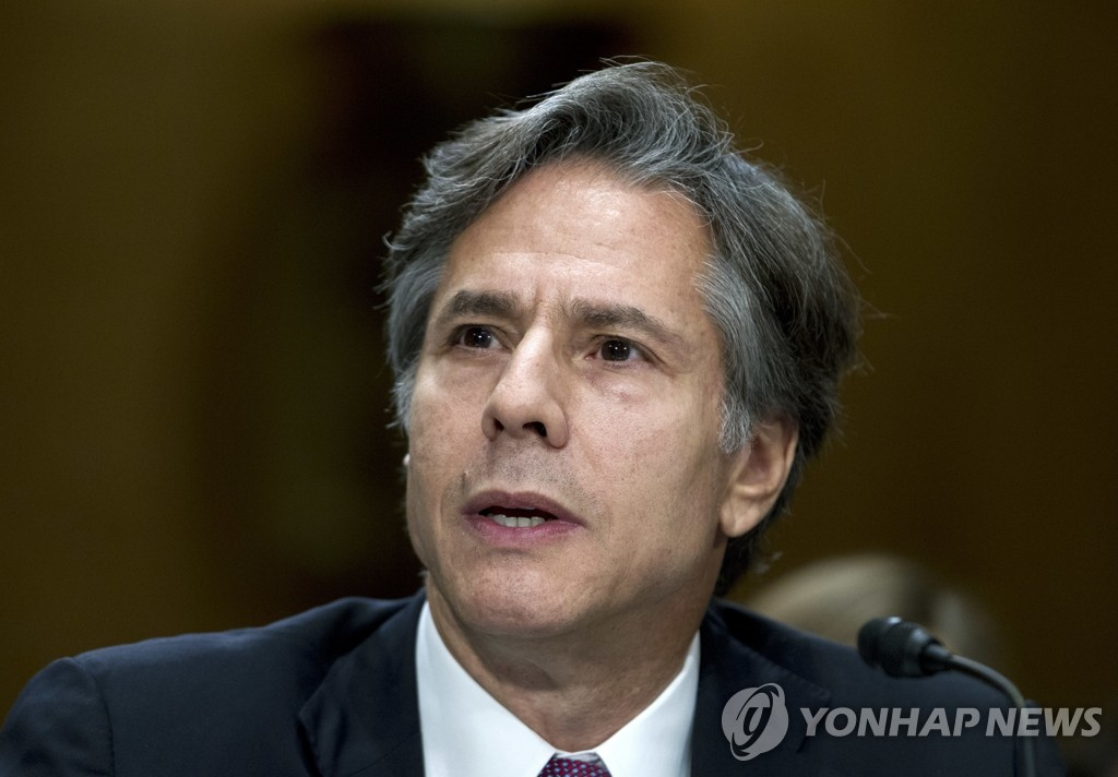 Then Deputy Secretary of State Antony Blinken speaks during a Senate Foreign Affairs Committee session in September 2016, in this photo released by the Associated Press. (Yonhap)