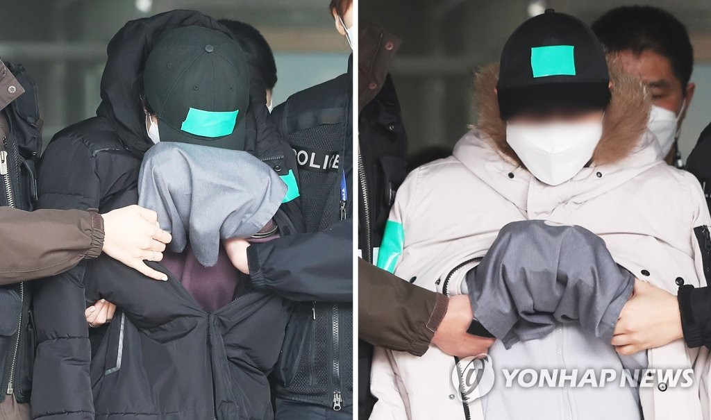 In this combined image, a couple appear for a court hearing in Yongin, just south of Seoul, on Feb. 10, 2021, over allegations of abusing their 10-year-old niece to death. (Yonhap)