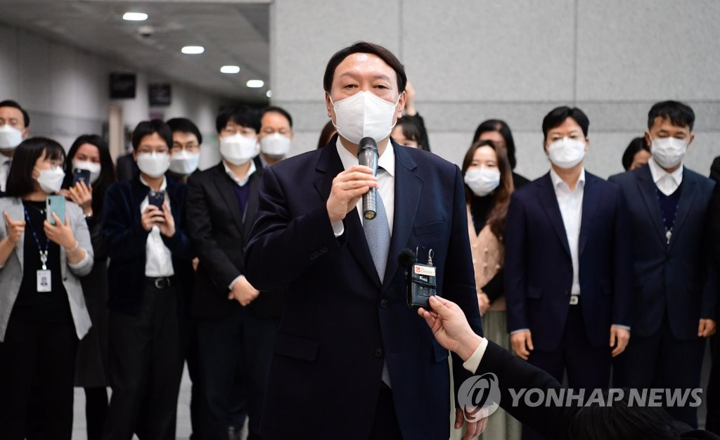 Yoon Seok-youl makes farewell remarks at the Supreme Prosecutors Office in Seoul on March 4, 2021, following his resignation from the position of prosecutor general. (Yonhap)